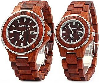 ZS-100B Couple Wooden Quartz Watch Men and Women Handmade Lightweight Date Display Fashion Watches