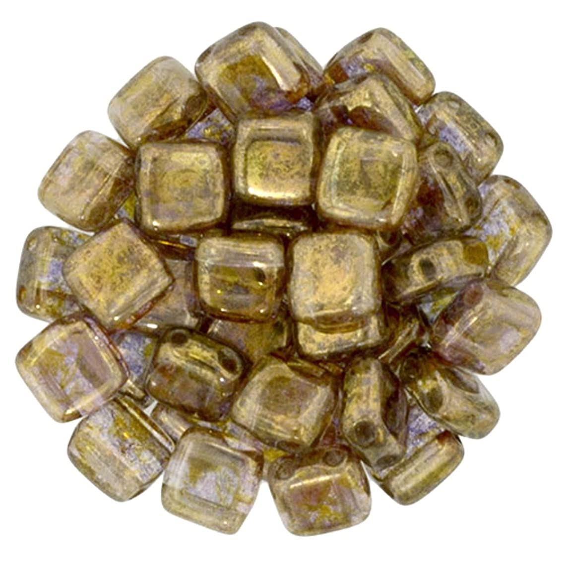 Czechmate 6mm Square Glass Czech Two Hole Tile Bead - Luster Transparent Gold/Sm.Topaz