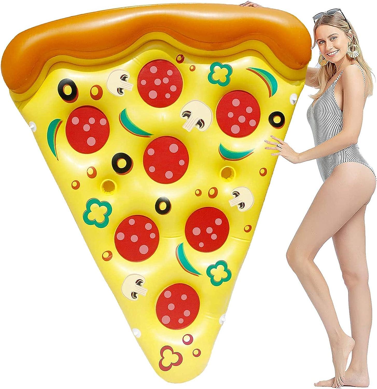 Colchoneta hinchable Pizza 188x130 cm, Pool Toys Pizza Inflable para Piscina, Colchoneta de Aire para Salón, Cama Flotante Inflable, Verano al Aire Libre(Amarillo)