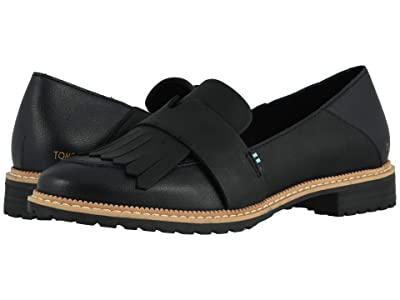 TOMS Mallory (Black Leather) Women