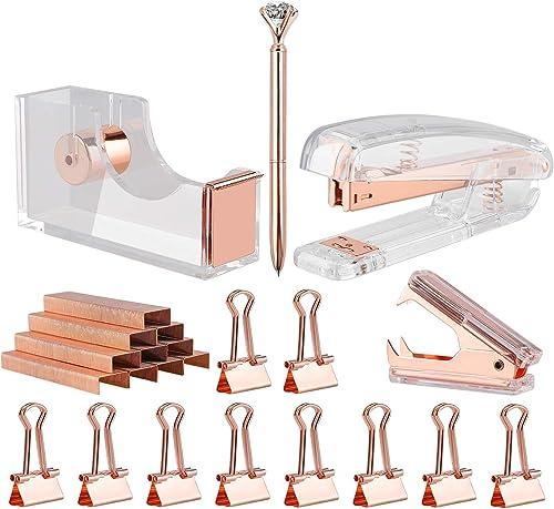 KIDMEN Rosegold Desk Accessory Kit,Set of Stapler, Staple Remover,1000pcs Staples,Tape Dispenser,Big Diamond Ballpoin...