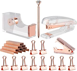 KIDMEN Rosegold Desk Accessory Kit,Set of Stapler, Staple Remover,1000pcs Staples,Tape Dispenser,Big Diamond Ballpoint Pen...