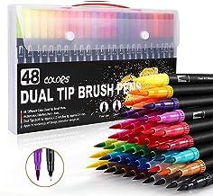 Dual Tip Art Pens Color Dual Marker Brush Pens 48 Colors,Water Based Marker for Kids Adult Coloring Book Journaling Letter...