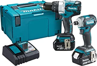Makita DLX2214TJ 18V Li-ion LXT 2 Piece Brushless Combo Kit comprising DHP481Z and DTD170Z Complete with 2 x 5.0 Ah Li-ion...