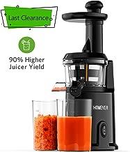 Slow Masticating Juicer, Homever Juicer Extractor Juicer Machine with Quiet Motor, Cold Press Juicer for Vegetables and Fruits, Suitable for Juicing Beginner,Black