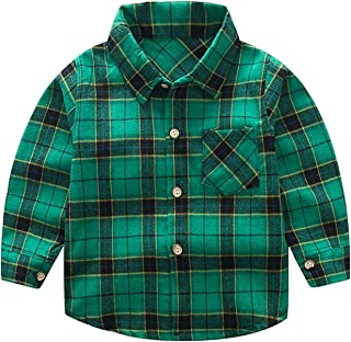Avidqueen Kids Little Boys Girls Baby Long Sleeve Button Down Red Plaid Flannel Shirt Plaid Girl Boy 1-5T