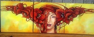 ART/DONNA CON PAPAVERI/FIORI/FLOWERS/DIPINTO A MANO 100%/COLORI OLIO SU TELA/CASA/QUADRI/PITTURA MODERNA/DIPINTI