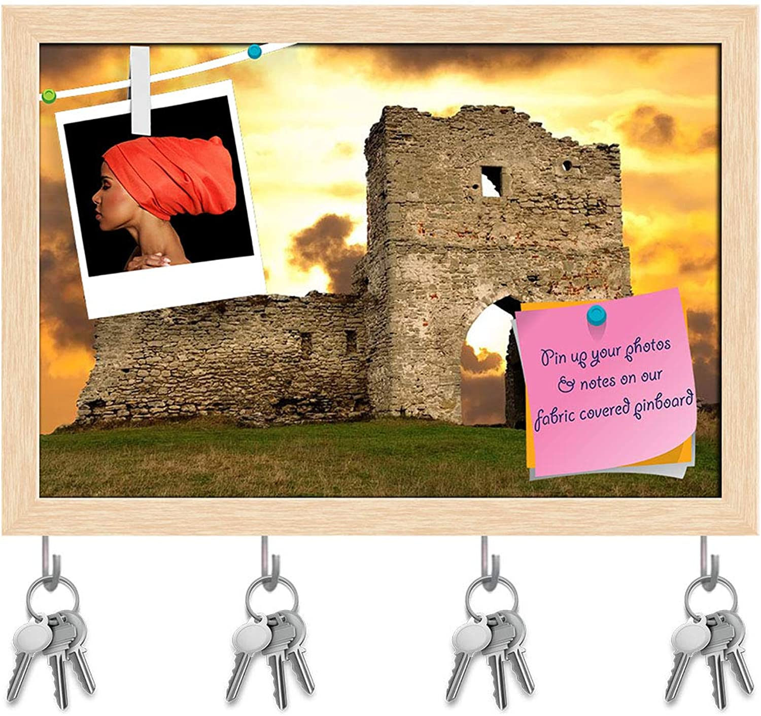 Artzfolio Ruined Gates of Cossack Castle Key Holder Hooks   Notice Pin Board   Natural Brown Frame 8.5 X 6Inch