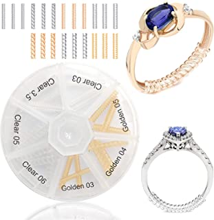 Ontaryon Assorted Ring Size Adjuster for Loose Rings - Reducer to Make Ring Smaller - Invisible Clip Guard Resizer - Pack of 21pcs, 7 Styles - Golden and Clear Sizers - Ideal for Silver and Gold