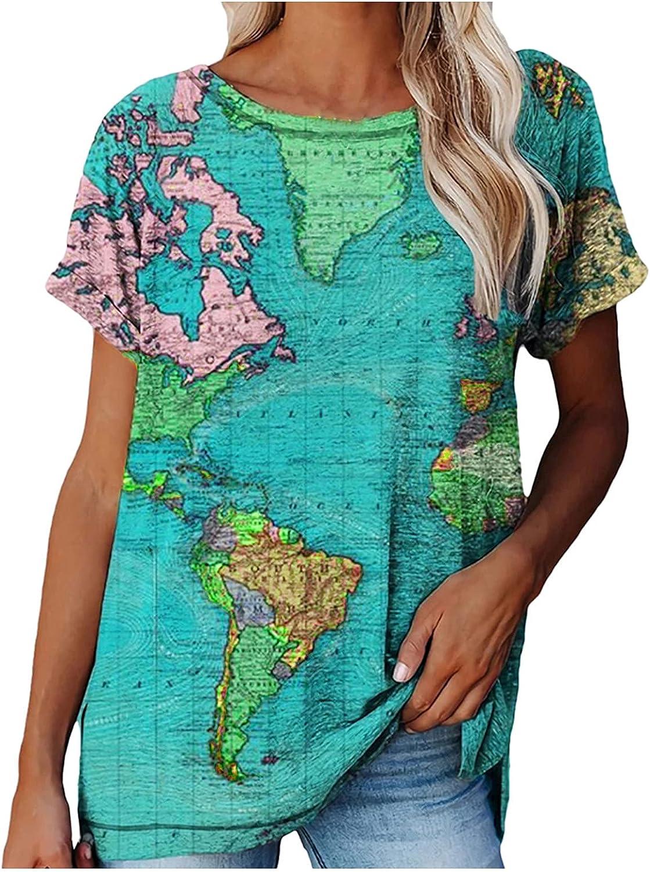 Women's Summer Loose Blouses Short Sleeve Atlas World Map Print T-Shirt Casual Scoop Neck Tops Tee Tunic Sweatshirts