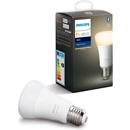 Philips Hue White Single Smart Bulb LED [E27 Edison Screw] with Bluetooth, Works with Alexa and Google Assistant [Energy Class A+]