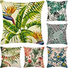 "Cotton Linen Throw Pillow Case,Decorative Square Cushion Cover 18"" x 18""(Cover Only,No Insert) 6 Pack Tropical Plants 4"