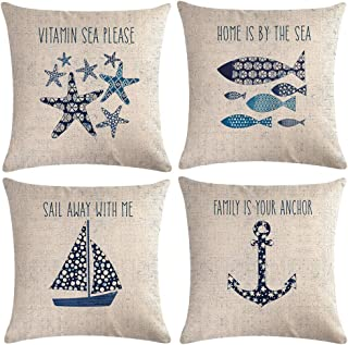 "7ColorRoom Navigation&Beach Style Throw Pillow Cover Sea Theme&Beach with Anchor/Sailboat/Fish/Starfish Pillowcase Set of 4 Nautical Decorative Cushion Cover 18""×18"" (Beach-4)"