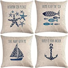 "7ColorRoom Coastal Throw Pillow Covers Sea Theme Sand Beach Pillowcases Cushion Covers Set 18""×18"" for Home Decor, Cotton ..."