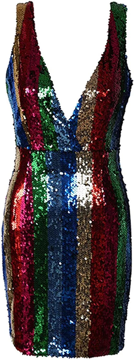 colorful Pasta Party Club Dress Sexy Summer Dress Tight Dress VNeck Shiny Stripe with Mini Dress