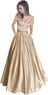 9740ef536d94 Harsuccting Off The Shoulder Beaded Satin Evening Prom Dress with Pocket