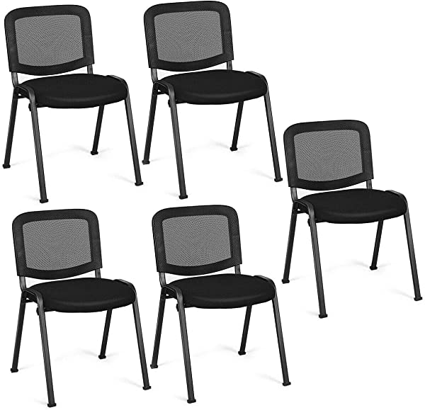 Giantex Set Of 5 Conference Chair Elegant Design Stackable Office Waiting Room Guest Reception 32 H