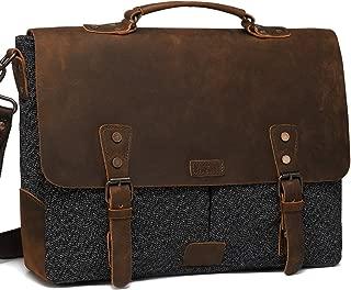 Messenger Bag for Men, Vaschy Vintage Leather Tweed Canvas Satchel 15.6inch Laptop Business Briefcase Crossbody Shoulder Bag with Detachable Strap Gray