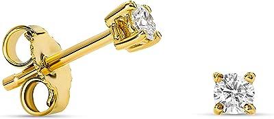 Aretes de 4 puntas de diamantes en oro blanco/oro amarillo de 14 k 585 con diamantes redondos brillantes 0.15 ct H VS