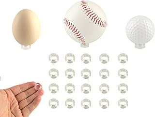 Small Clear Display Stand Ring Holder | 20 PCS (0.39 inches) | Round Beveled Pedestal for Dragon ball Golf Ball, Baseball, Egg, Spheres, Marble, Hold Up to 10lb, Perfect for Small Balls Collections