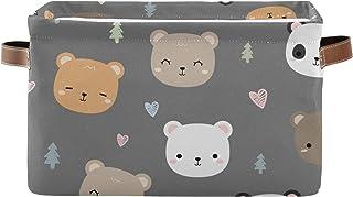 DOMIKING Panier de rangement rectangulaire en forme de panda avec poignées pour chambre d'enfant, linge, livre, cadeau