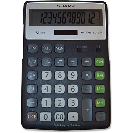 Sharp Calculators EL-R297BBK 12-Digit Recycled Plastic Cabinet Calculator - Black