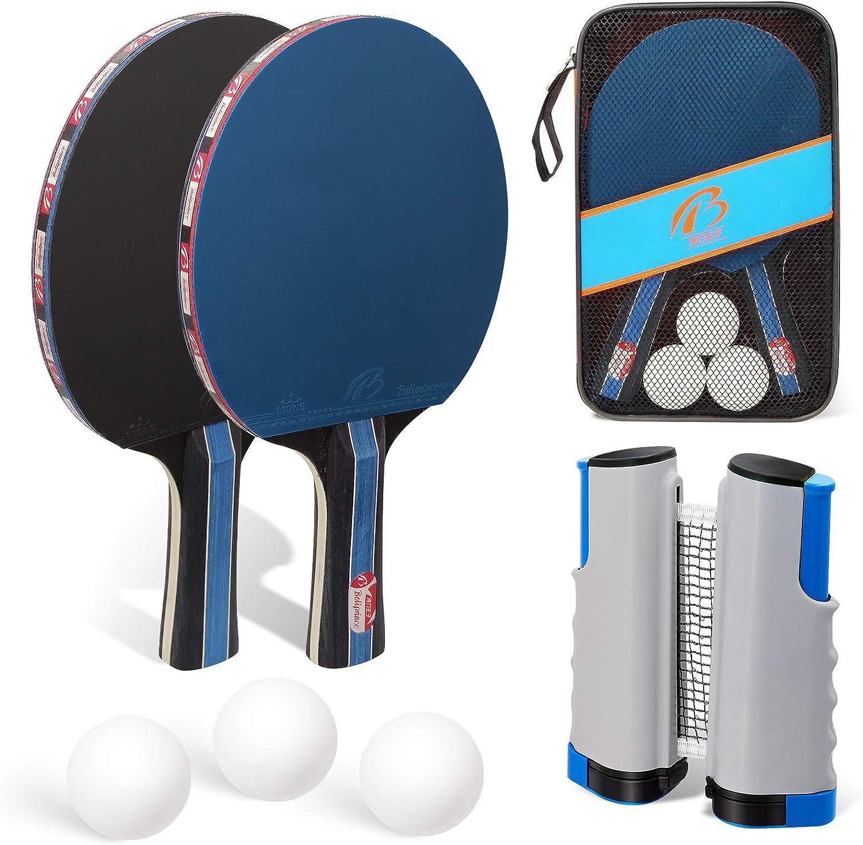 Juego de raquetas de ping pong de mesa con red, incluye 3 pelotas y 2 raquetas, red extensible y bolsa, juego de ping pong para principiantes, familias y profesionales