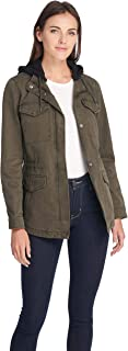 Women's Cotton Military Jacket with Removable Fleece Hood