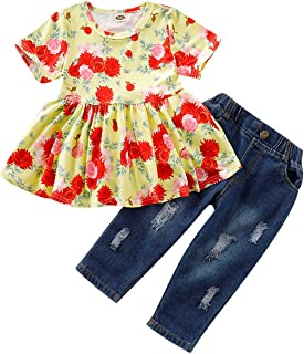 ECOLIVZIT Girl Clothes - Toddler Girls Outfit Short Sleeve Floral Shirt + Long Ripped Jeans Denim Pants 12m-4yrs Old