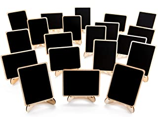 20 Pack Wood Mini Chalkboards Signs with Support Easels, Place Cards, Small Rectangle Chalkboards Blackboard for Weddings,...