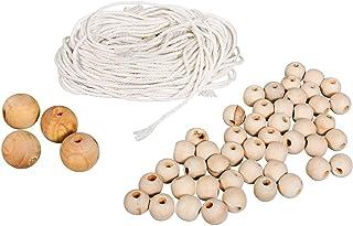 Rayher 42007000 Bastelpackung: Holzperlen und Garn f. Makramee, natur