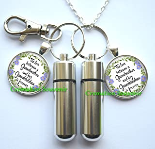 The love between a Grandmother and her Grandchildren is forever Urn Necklace and Keychain Jewelry - Quote Cremation Necklace Jewelry - Ashes Necklace Jewelry - Memorial Jewelry