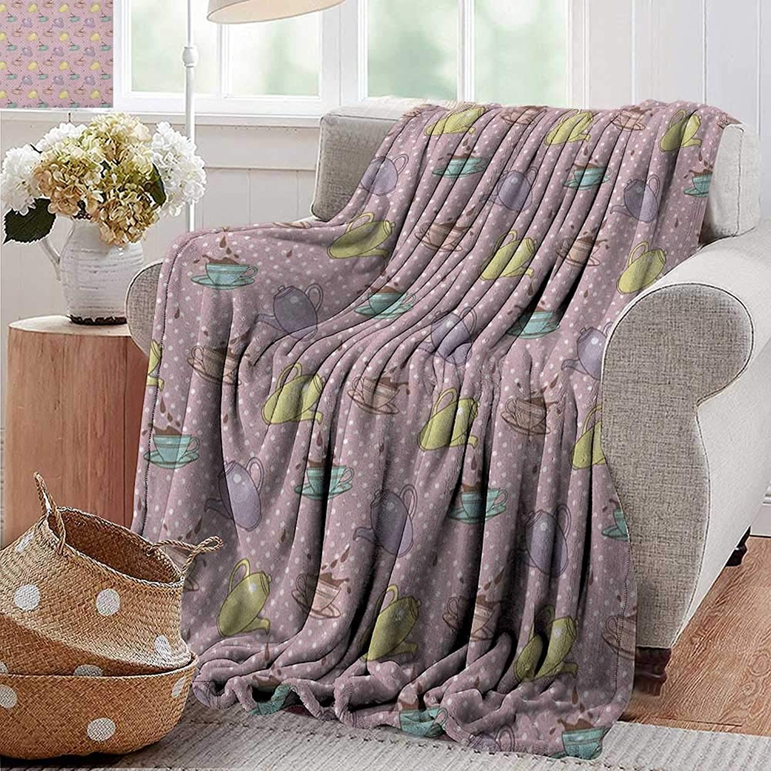 XavieraDoherty Summer Blanket,Tea Party,Polka Dots Background with Teapots Teacups Retro Cartoon Style, purplec Turquoise Pale Green,300GSM, Super Soft and Warm, Durable 35 x60