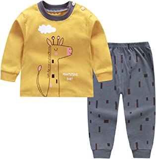 NOMSOCR Toddler Kids Boys Girls 2 Piece Pajamas Set Cotton Sleepwear Loungewear