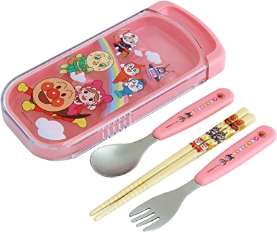 お子様と行く行楽に!アンパンマンお弁当&水筒&デザートケース&スプーンフォーク箸セット&袋 計5セット (ピンク)