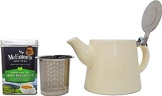 Perfect voor Theeliefhebbers Gift Set - McEntee's Ierse ontbijt Thee 220g Tin en McEntee's Cara Keramische Crème Theepot 5...