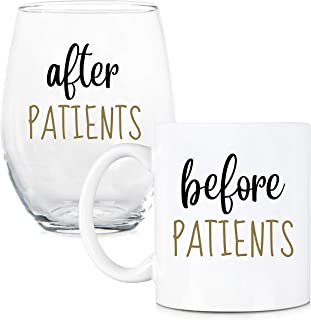 Before Patients, After Patients 11 oz Coffee Mug and 15 oz Stemless Wine Glass Set - Unique Gift Idea for Dentist, Dental,...
