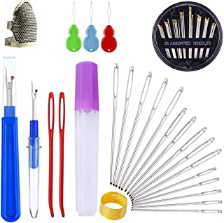56 Pieces Sewing Tools Set,Includes 2 Sewing Thimble Finger Protector 30 Hand Needles 17 Large-Eye Knitting Needles 2 Seam Ripper 3 Needle Threader 1 Yarn Scissors