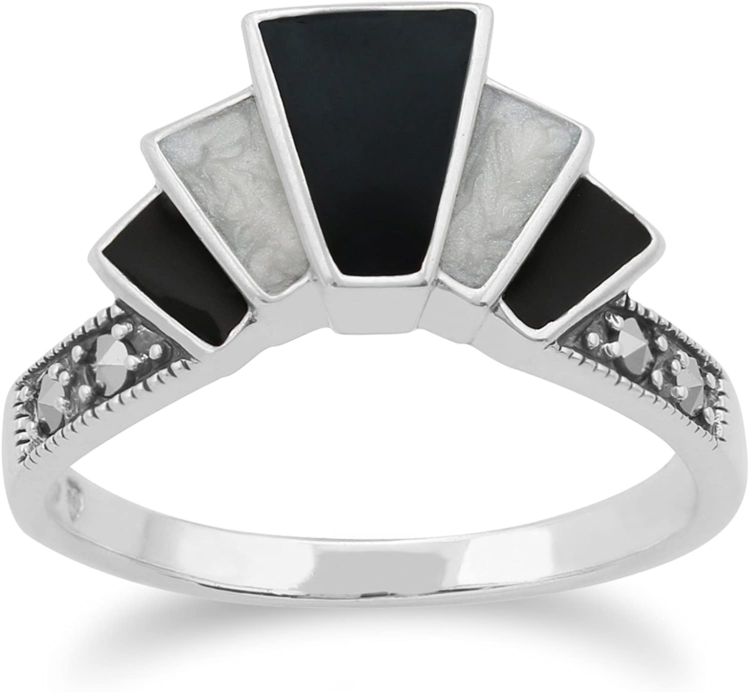 Gemondo Art Deco Ring, 925 Sterling Silver Art Deco Black and White Enamel & Marcasite Ring