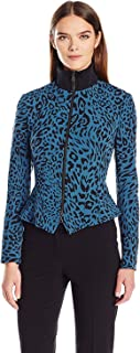 Anne Klein Women's Knit Collar Animal Zip Front Jacket