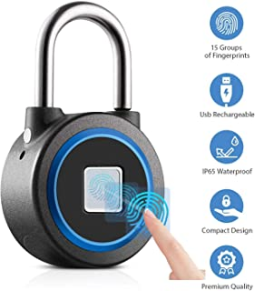 Fingerprint Padlock, Bluetooth Connection Metal Waterproof, Suitable for House Door,..