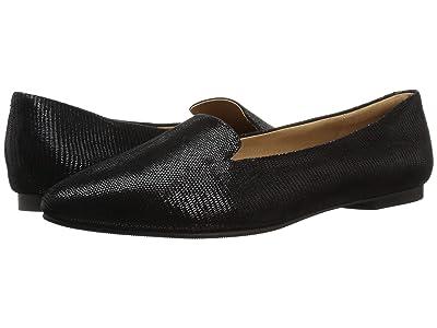 Trotters Harlowe (Black Soft Lizard Embossed Patent Suede) Women