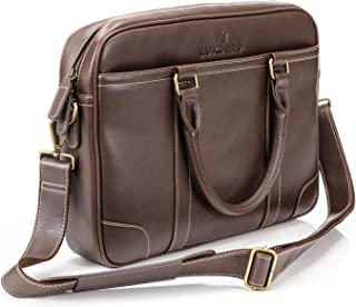 Luxorro Laptop Bag For Men | Soft, Messenger Bag For Men W/hand Stitching | Lasts A Lifetime | Computer Bags W/Unique Wire Hooking System Included | Fits 15.6inch Laptop,Dark Brown