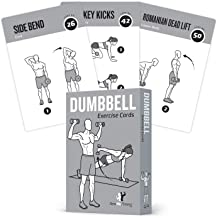 """Exercise Cards Dumbbell Home Gym Strength Training Building Muscle Total Body Fitness Guide Workout Routines Bodybuilding Personal Trainer Large Waterproof Plastic 3.5""""x5"""" Burn Fat"""