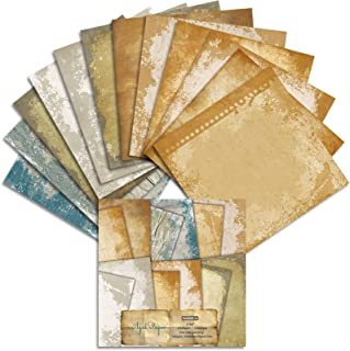 Lcoor 24 Pages Vintage Cuttable Pliable Motif Papier Scrapbook Simple Face pour Cartonnage Décoratif (15cm)
