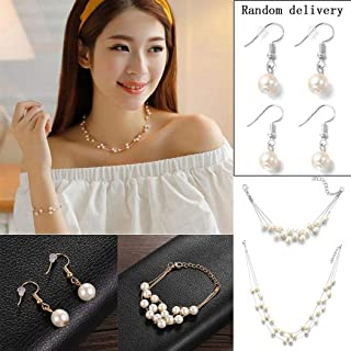 Faux Pearls Necklace Earrings Ring Bracelet Jewelry Set Costume Wedding Jewelry Sets