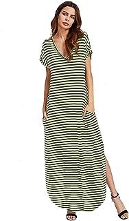 ed8c08cee1f5 Verdusa Women's V Neck Side Pockets Split Hem Beach Long Maxi Dress