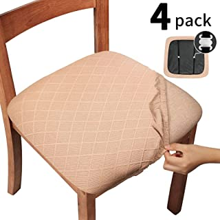 Gute Chair Seat Covers with Elastic Ties and Button, Stretch Jacquard Dining Room Chair Upholstered Cushion Cover, Removable Office Computer Chair Seat Protectors - Set of 4, Rhombic, Camel