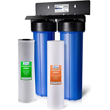 """iSpring WGB22B 2-Stage Whole House Water Filtration System Big Blue with 20"""" x 4.5"""" Fine Sediment and Carbon Block Filters, Removes 99% of Chlorine"""