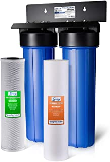 "iSpring WGB22B 2-Stage Whole House Water Filtration System Big Blue with 20"" x 4.5"" Fine Sediment and Carbon Block Filters, Removes 99% of Chlorine"